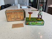 Selrite Home Run King Babe Ruth Antique 1930's Wind Up Tin Baseball Toy With Box