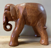 Hand Carved Wooden Thai Elephant Statue Small Table Stool Plant Pot Stand 9andrdquo