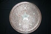 83 Cm Old Copper Silver Cairoware Tray Plate Damascus Syria Islamic Art Judaica