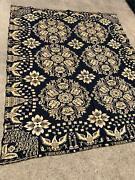 Antique Navy White American Agriculture 1833 Jacquard Coverlet