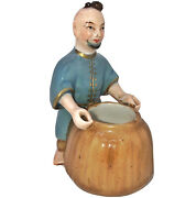 Circa 1800's Chinese Porcelain Man With Rice Sack Jar - Asian Art Figurine Old A