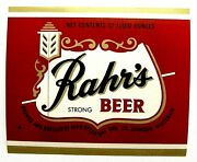 Rahr Green Bay Brg Corp Rahrs Strong Beer Label Wi 12oz