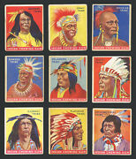 1933 Goudey Indian Gum Group Of 36 Different Numbers 1 Thru 73 G To Vg-ex