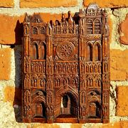 18th Century Carved Antique Walnut Panel Depicting A Cathedral Facade