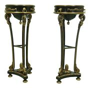 L53200ec Pair Neoclassical Black And Gold Pedestal Planter Stands