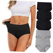 Womens Underwear,cotton Mid Waist No Muffin Top Large Grey+black=total 5 Pack