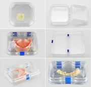 Acrylic Jewelry Storage Boxes Hinged Display Dental Clear Membrane Denture Cases