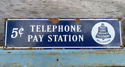"""Vintage Bell Telephone Pay Station Phone Porcelain Metal Sign 15"""" Oil Gas Lube"""