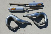 Yamaha Banshee Fmf Fatty Gold Exhaust Pipes And Spark Arrestor Silencers E-55