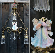 3lt Vintage Brass Lily Lamp Chandelier Bisque Doll Porcelain Heubach Insp Beads