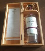 Macallan 25 Year Highland Single Malt Whiskey Empty Bottle And Wooden Box Only
