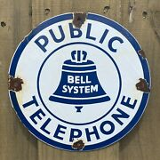 """Vintage Bell System Public Telephone Porcelain Metal 9"""" Gas Oil Pay Phone Sign"""