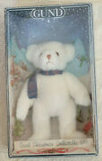 Vintage New Gund Christmas Collectible 1991 White Teddy With Scarf 9