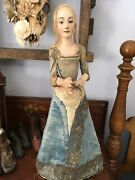 Antique Early 19th Century Santos Cage Doll Wooden Glass Eyes Folk Art Patina