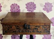 C. 17th Century Oak Wood Marriage Bible Box With Vr Crown Mark. Initials Randp