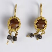 Pair Of Ancient Roman Gold Earrings With Agate, Pearl And Glass Beads, Jewellery
