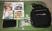 Nintendo 3ds Xl Handheld Console Black And Grey Spr-001 Usa W/ Case + 11 Game Lot