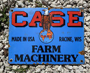 Vintage 1937 Case Tractor Porcelain Metal Farm Machinery Eagle Barn Gas Oil Sign