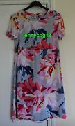 Joules Krista Woven Dress Silver Whitstable Floral Crepe Viscose Midi Shift Ss 8