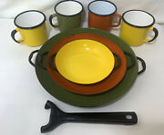 Huta Silesia Colorful Nesting Pans And 4 Mugs - Made In Poland6andrdquo 8andrdquo 9 3/4andrdquo