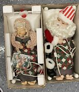 Vintage Telco Santa And Mrs Claus Animated Motionettes Sleeping Snoring 1994-95