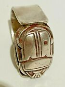 Vintage Massive 1930th Egyptian Revival Scarab Ring 925 Silver