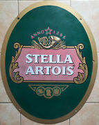 Antique Plate Sheet Metal Ales Stella Artois 22 3/8x28 5/16in Cave Bar Brewery