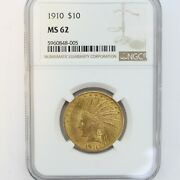 1910 10 Indian Head Gold Eagle -- Ngc Ms62 -- Rare 318704 Minted --