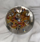 Antique Blown Glass Paperweight Clear Contains Multi-colored Cloud And Bubbles