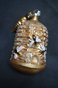 Rare Vintage Blown Glass Gold Beehive Christmas Ornament Made In Germany