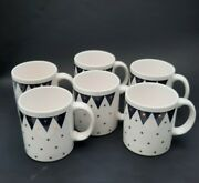 Waechtersbach West Germany Blue And Gold Stars Coffee Cups Mugs Set Of 6 Rare