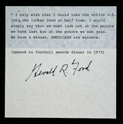 President Gerald R. Ford Autograph On Powerful Americans Are Winners Speech 1973