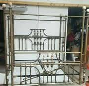 Rare Antique King Brass And Alabaster Bed