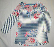 Joules Top Uk10 Eu38 Us6 Navy Whitstable Stripe 3/4 Sleeve 100 Cotton Jersey
