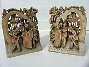 Antique Chinese Wooden Carved Bookends