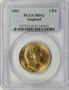 1902 England / Great Britain 2 Pounds Pcgs Ms62