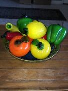 Vintage Blown Art Glass Murano Style Lot Of 10 Fruit And Vegetables