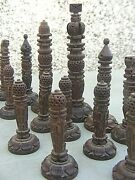 Antique Chess Set Anglo Indian Wooden Carved And Box