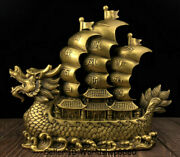 15.6 Old Chinese Copper Feng Shui Dragon Boat Beychevelle 一帆风顺 Lucky Statue