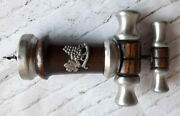 Vintage Corkscrew Type Double Action In A Wooden Case With Tin Plates.