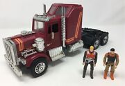 1985 M.a.s.k. Rhino Semi Truck Vehicle And 2 Figures Kenner Rare 80s Mask Toy
