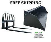Es New 90 Snow/mulch Bucket And 48 Standard Pallet Forks Combo Skid Steer