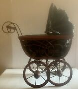 """Antique Baby Doll Carriage Stroller Buggy 18"""" Tall Wicker Wood Metal Bead"""