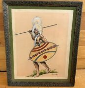 Old Vintage 1972 Andldquoblack Warriorandrdquo Watercolor/ink Painting By Luis A. Maese