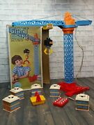 Vintage Sears Battery Operated Giant Crane Toy With 5 Blocks Hook And Basket + Box