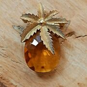 Vintage Sarah Coventry Brooch Pin Gold Colour Mcm Pineapple Retro Jewellery Cute