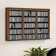 Triple Wall Mounted Storage Cabinet, Cherry And Black