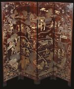 4-panel Antique Chinese Double-sided Coromandel Screen