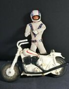Vintage 1972 Evel Knievel Motorcycle And Figure Removable Helmet And Belt