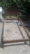 2 Antique Twin Bed Frames/convent Style/brown Wood